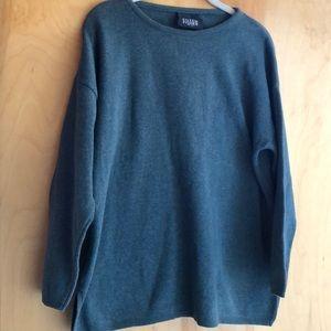 Eileen Fisher muted forest green sweatshirt top